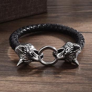 Armband Viking Wolf 3 Läderarmband Svart 22 cm