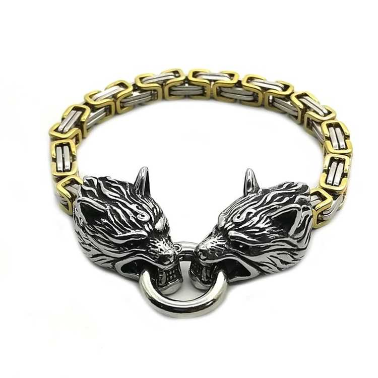 Armband Wolf Guld Silver kejsarlänk 21 cm vikingasmycke