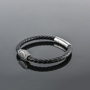 Armband Vegvisr. Svart Läder (Pu) 21 cm