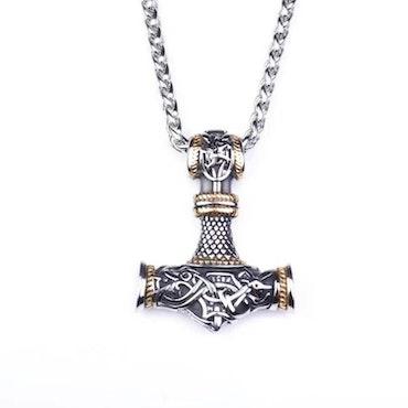 Halsband Thors hammare Gute  Gold / Steel