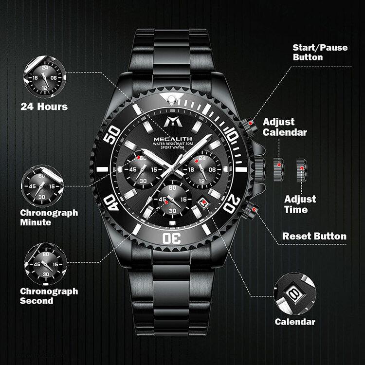 Herrklocka Megalit Chronograph De Lux. Black / Black