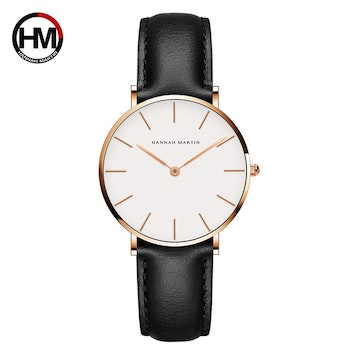 Hannah Martin Classic. Gold / White. Leather Black. Japan Quartz