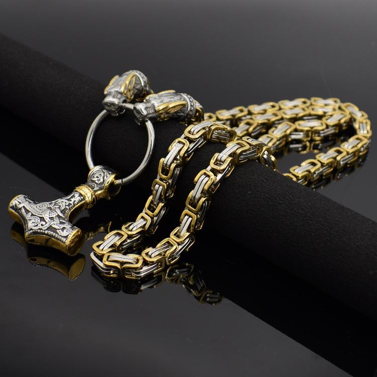 Halsband Styrbjörn Thorshammare Kejsarlänk Gold / Steel