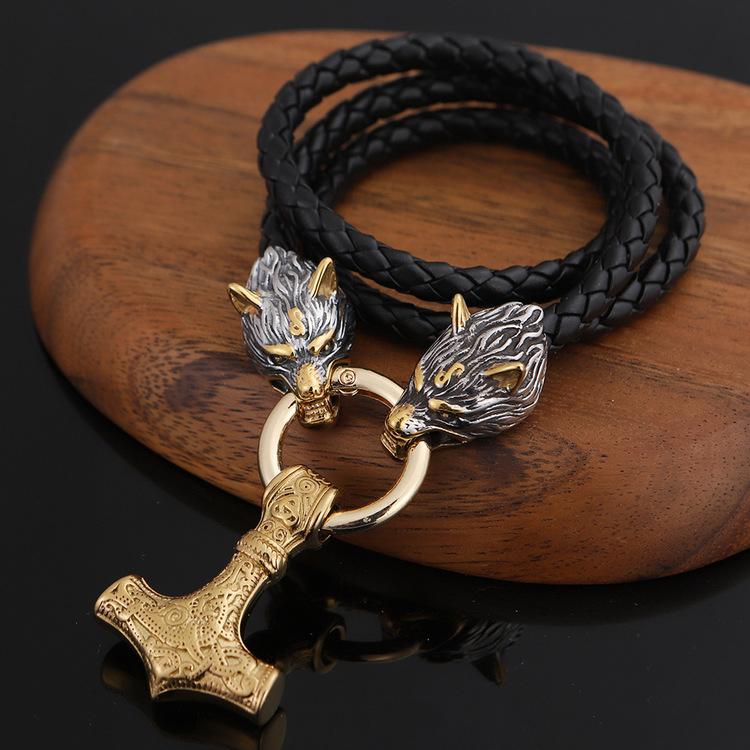 Halsband Wolf- Thors hammare Gold Special. Läderrem 60 cm