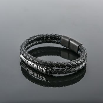 Armband Viking Special Läder (Pu) Svart Dubbelt 21 cm