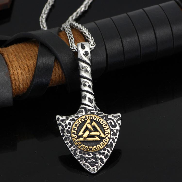 Halsband Viking Arrow-Valknut i guldfärg. 60 cm