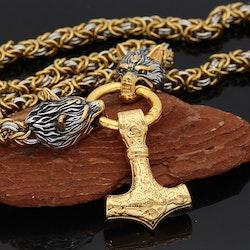 Halsband Viking Thors Hammare Gold Special. Kungslänk Silver / Gold. 60 cm
