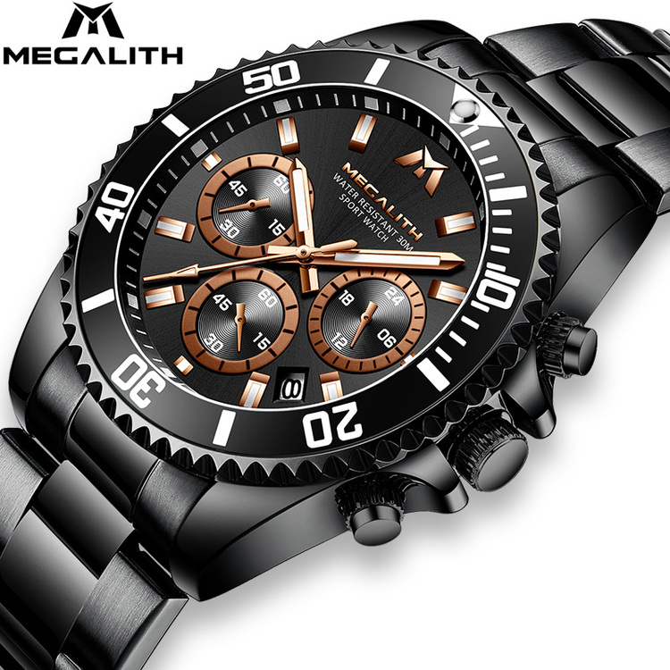 Herrklocka Megalith Chronograph De Lux. Black / Black / Gold. Quartz Japan