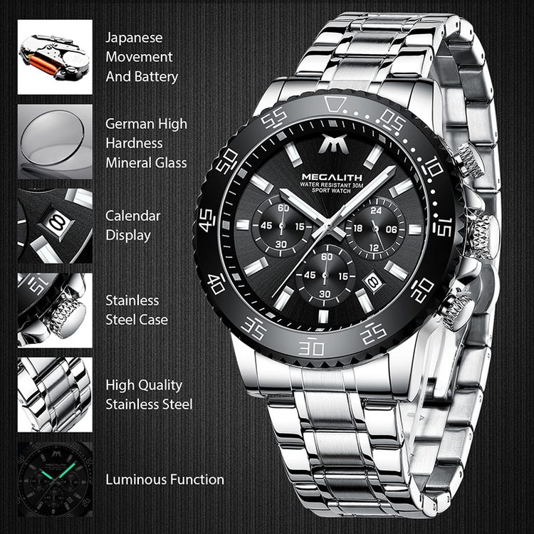 Herrklocka Megalith Chronograph De lux Optimal.Steel / Black / Steel