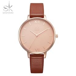 Damklocka SK Just in Time. Gold / Pink. Leather Brown. Japan Quartz