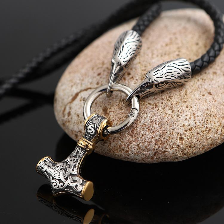 Halsband Läder Thor / Hugin Silver / Guld färgad. 60 cm