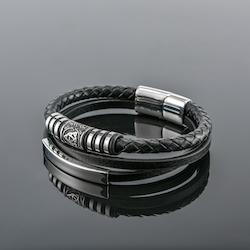 Armband Viking Special. Valknut Läder Svart (Pu). Dubbelt 21 cm