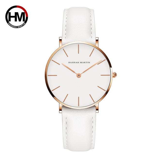 Hannah Martin Classic. Gold / White. Leather White. Japan Quartz