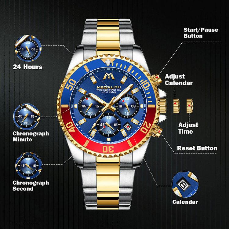 Herrklocka Megalith Chronograph De Lux. Steel / Gold / Blue / Red