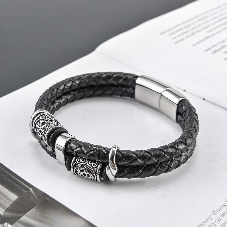 Armband Viking Valknut Läder Svart ( Pu) Dubbelt 21 cm