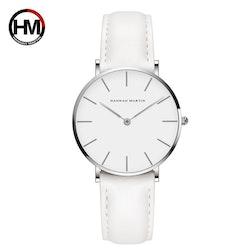 Hannah Martin Classic. Silver / White. Leather White. Japan Quartz