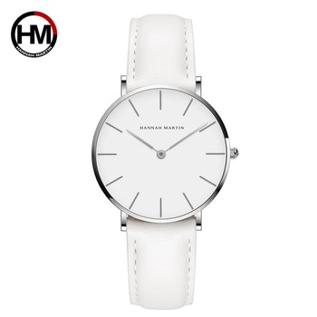 Hannah Martin Classic. Silver / White. Leather White. Japan Quartz