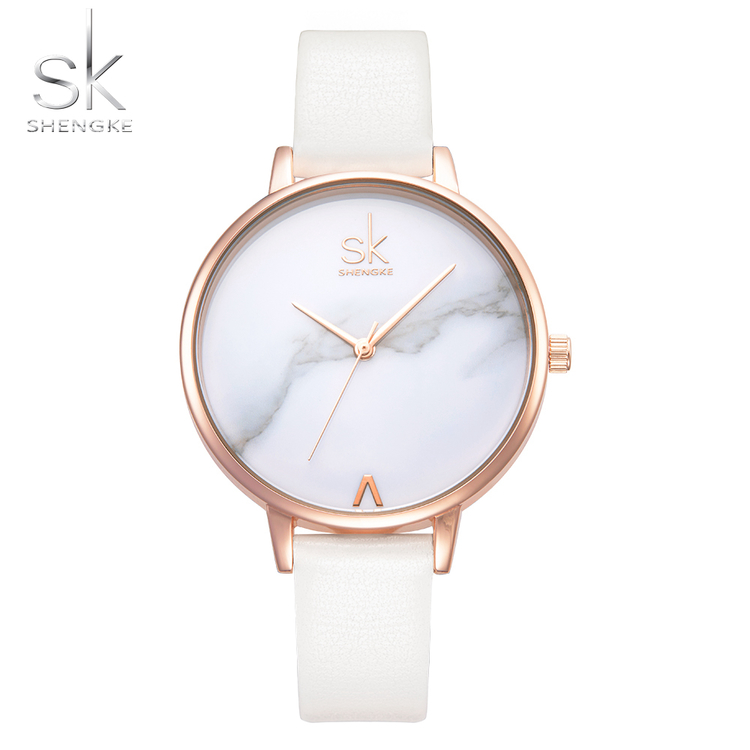 Damklocka Just in Time. Gold / Marble. Leather white. Japan Quartz