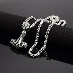 Halsband Bogevik med valknut. Silver / Svart färgad. 60 cm