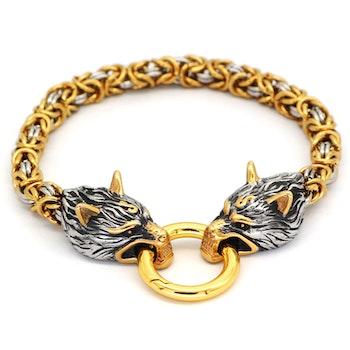 Armband Viking Wolf Kungslänk. Steel / Gold. 21 cm