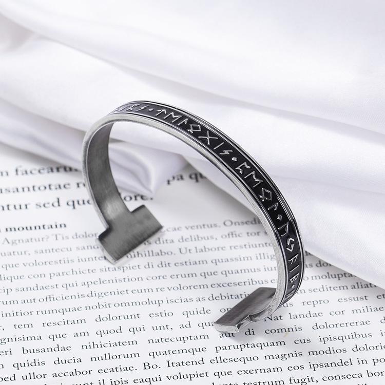 Armband Runskrift Stelt. Steel /  Black