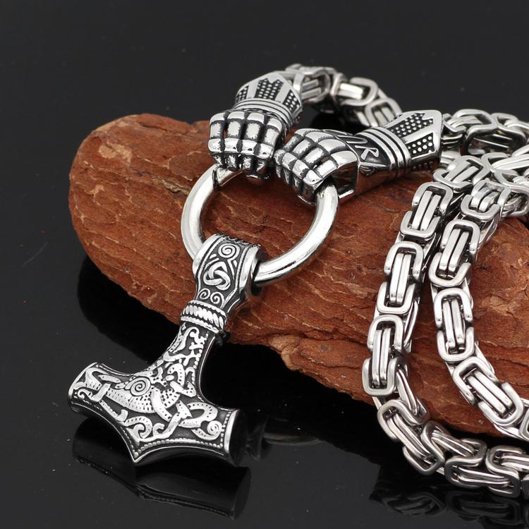 Halsband Viking Thors Hammare. Stålhandske. Kejsarlänk 60 cm