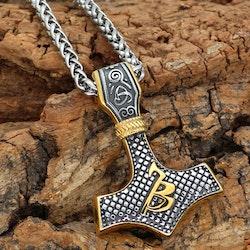 Halsband Thors hammare Balder. Silver / Guld