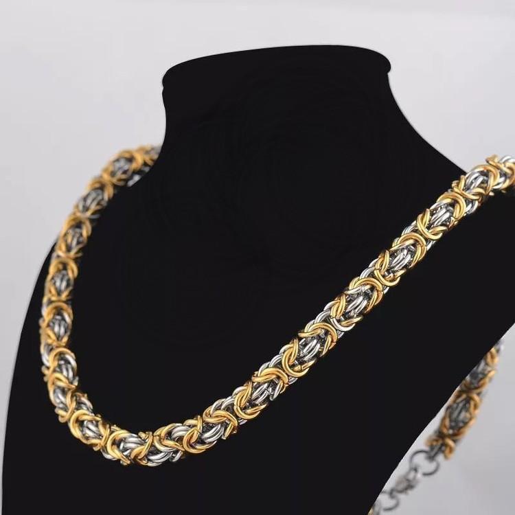 Halsband kungslänk Guld Silver 60 cm