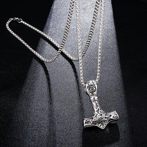 Halsband Thorshammare i silverfärg Svart Viking 18 Ankarkedja 60 cm