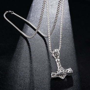 Halsband Thorshammare i silverfärg/ Svart Viking 18 Ankarkedja 60 cm