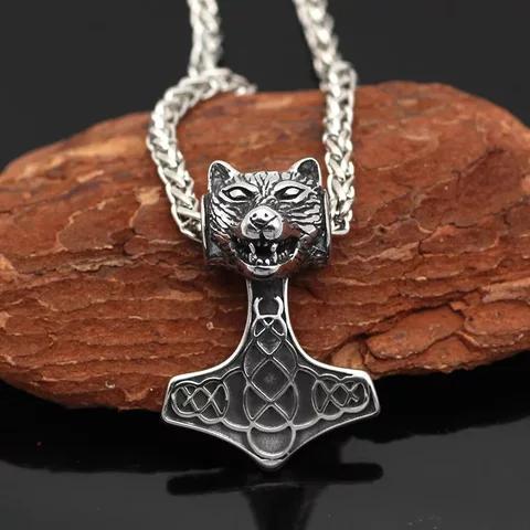 Halsband Thorshammare med ulv. Viking 13 Ankarlänk 60 cm
