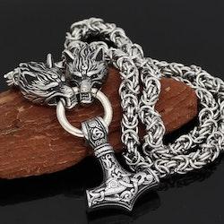 Halsband Viking Thors hammare i silver med kungslänk 60 cm