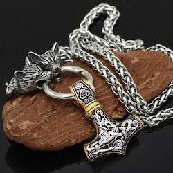 Halsband Viking Thorshammare Guld / Silver Ankarkedja 60 cm