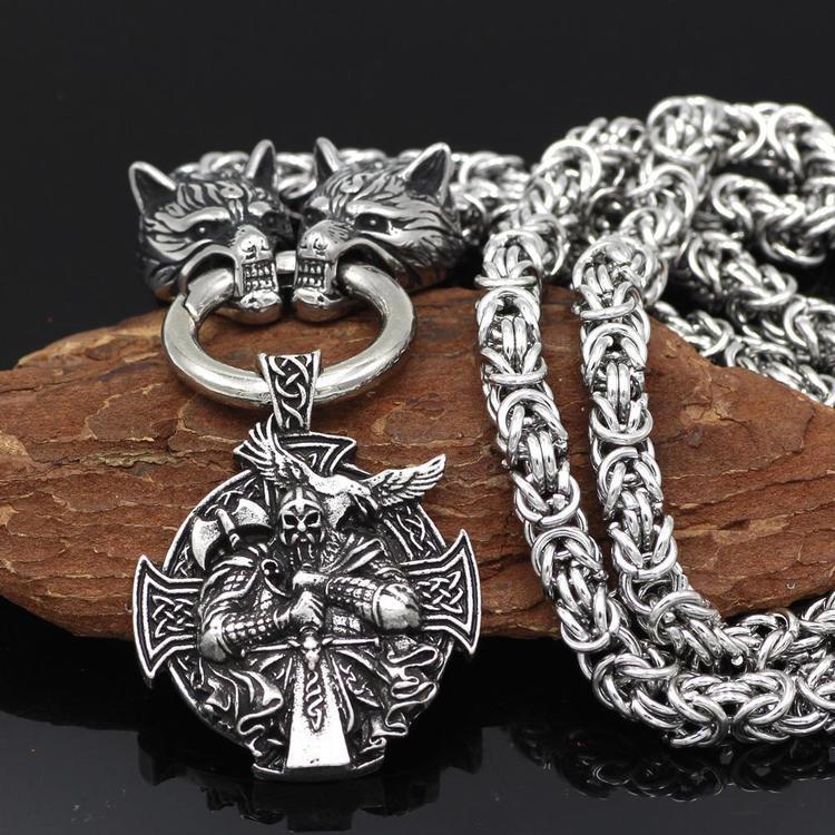 Halsband Viking Wolf-Odin kungslänk 4 60 cm