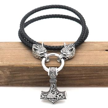 Halsband Viking Wolf-Thorshammare 3 Läderrem