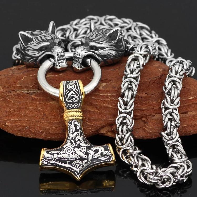 Halsband Viking Wulf-Thorshammare Guld Silver 9 60 cm Kungalänk