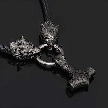 Halsband Wolf-Thors hammare. Svart / Antracit. Läderrem 60 cm