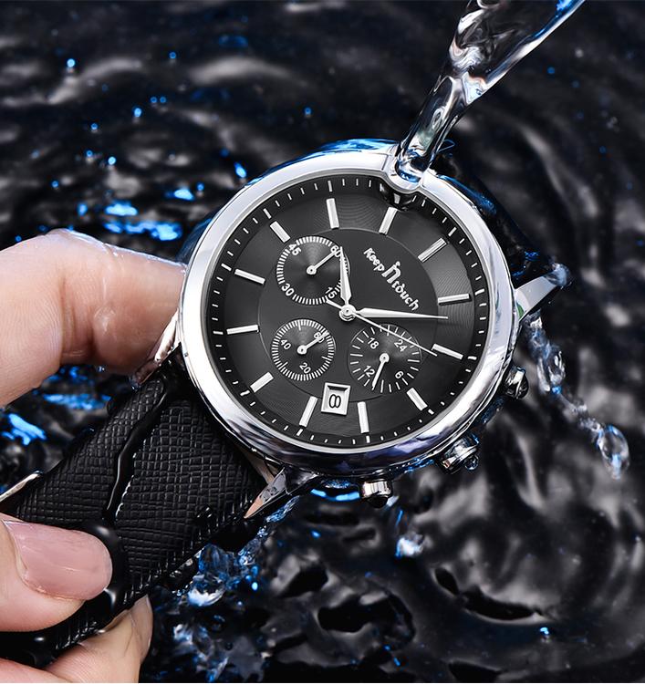 Keep i Touch Disponent. Steel / Black. Leather Black. Japan Quartz