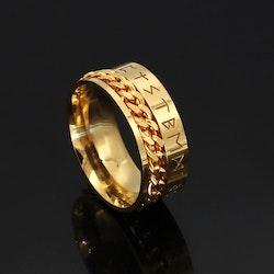 Ring Titanium-Kedja,runskrift Guldfärgad