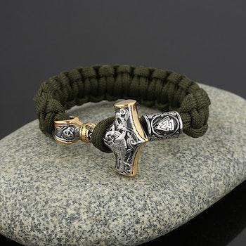 Armband Green. Thors Hammer Silver / Guldfärg