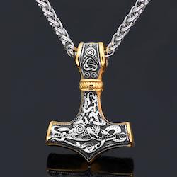 Halsband Thorshammare i Guld / Silverfärg. Kedja 60 cm