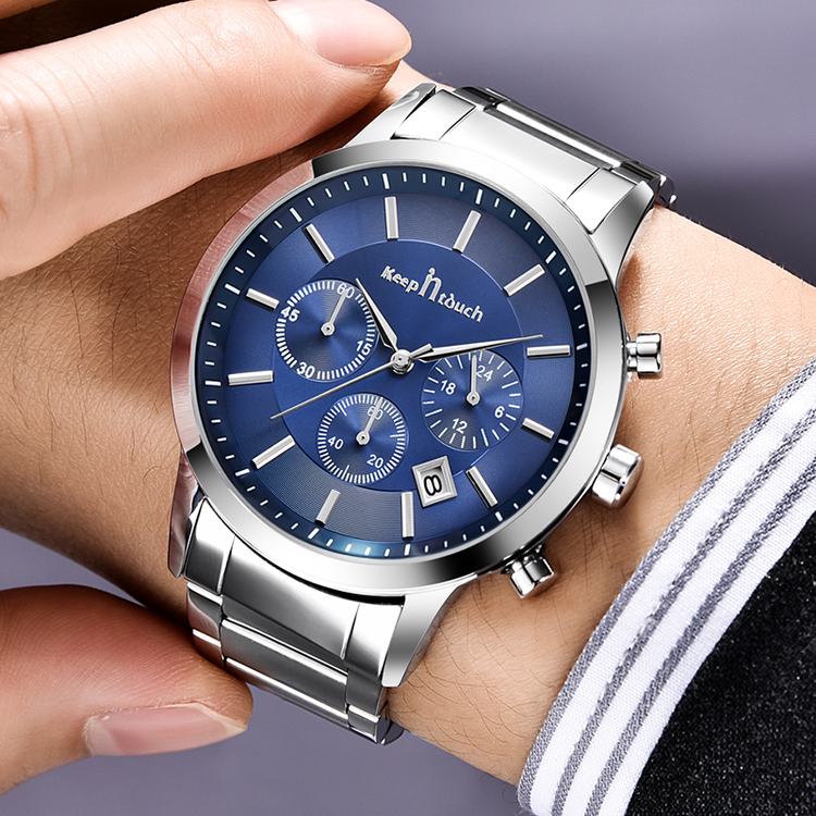 Keep in Touch Disponent Blue/ Steel. Länk Stainless steel. Japan Quartz