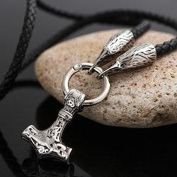 Halsband Läder Thor / Hugin Silverfärg 60 cm