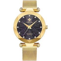 Wwoor Diamond Starry Sky. Dark purple / Gold. Mesh Gold. Japan Quartz