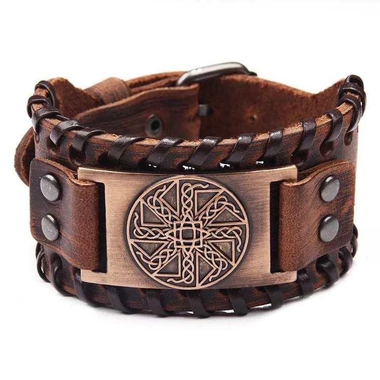 Läderarmband Viking 6 Brun Koppar vikingasmycke armband