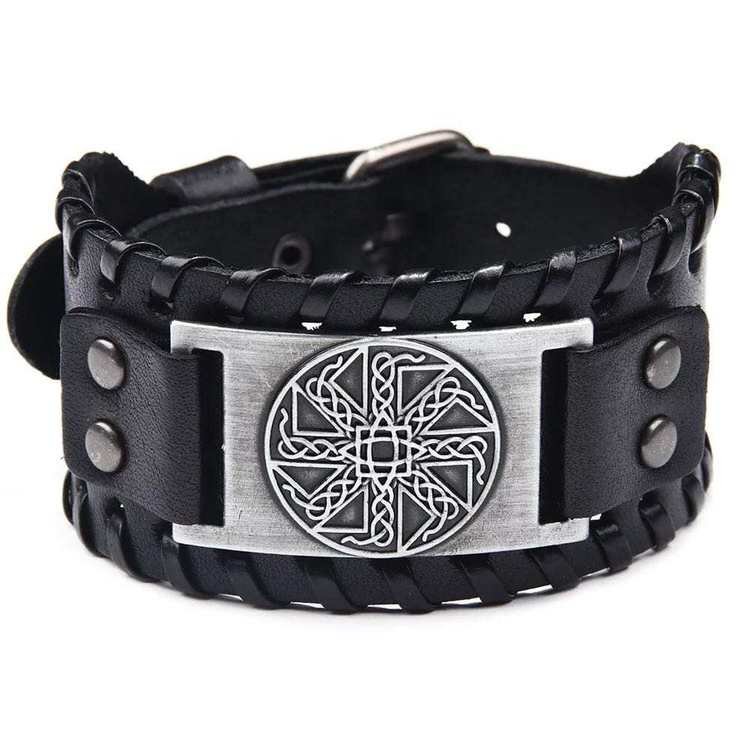 Läderarmband Viking 6 Svart Silver vikingasmycke armband