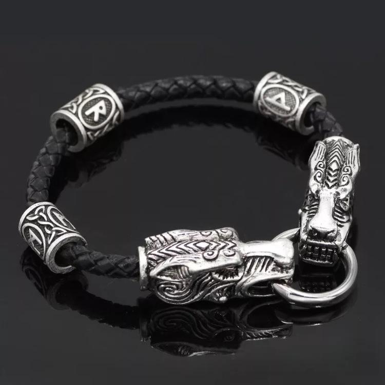 Viking Wolf Läderarmband 21 cm