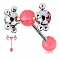 Tungpiercing ballspinner rosa