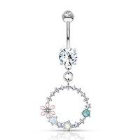 Navelpiercing med blomma, opal och ädelstenar