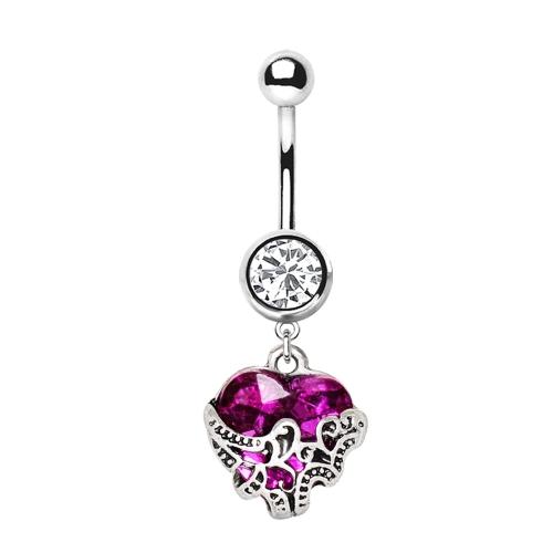 Navelpiercing med lila ornament hjärta